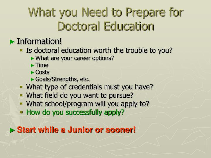 What you Need to Prepare for Doctoral Education