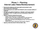 phase 1 planning internal labor rates reimbursement