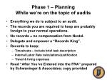 phase 1 planning while we re on the topic of audits