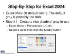 step by step for excel 2004
