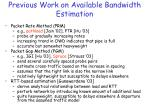 previous work on available bandwidth estimation