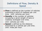 definitions of flow density speed