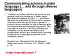 communicating science in plain language and through diverse languages