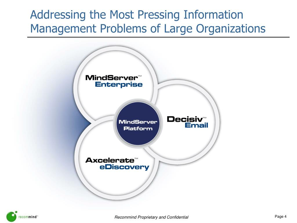 Addressing the Most Pressing Information Management Problems of Large Organizations