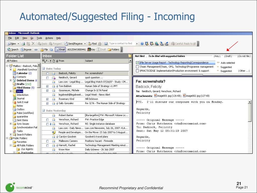 Automated/Suggested Filing - Incoming