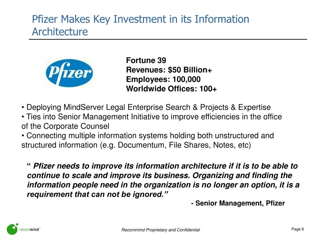 Pfizer Makes Key Investment in its Information Architecture