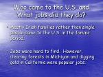 who came to the u s and what jobs did they do