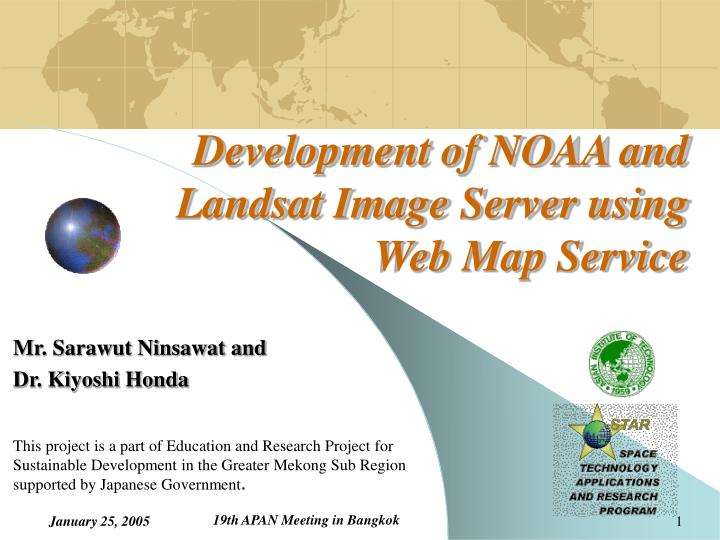 development of noaa and landsat image server using web map service n.