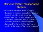 maine s freight transportation system