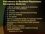 prevalence in resident physicians emergency medicine
