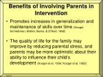 benefits of involving parents in intervention