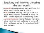 speaking well involves choosing the best words