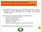 the west african experience ecowas program for integration