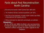 facts about post reconstruction north carolina