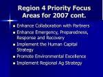 region 4 priority focus areas for 2007 cont