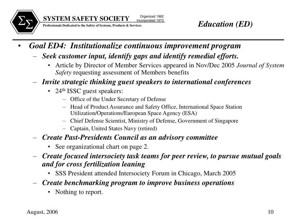 Goal ED4:  Institutionalize continuous improvement program