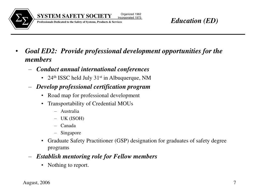 Goal ED2:  Provide professional development opportunities for the members