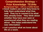 comprehension strategy prior knowledge te164a background tape life on a cattle ranch
