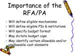 importance of the rfa pa