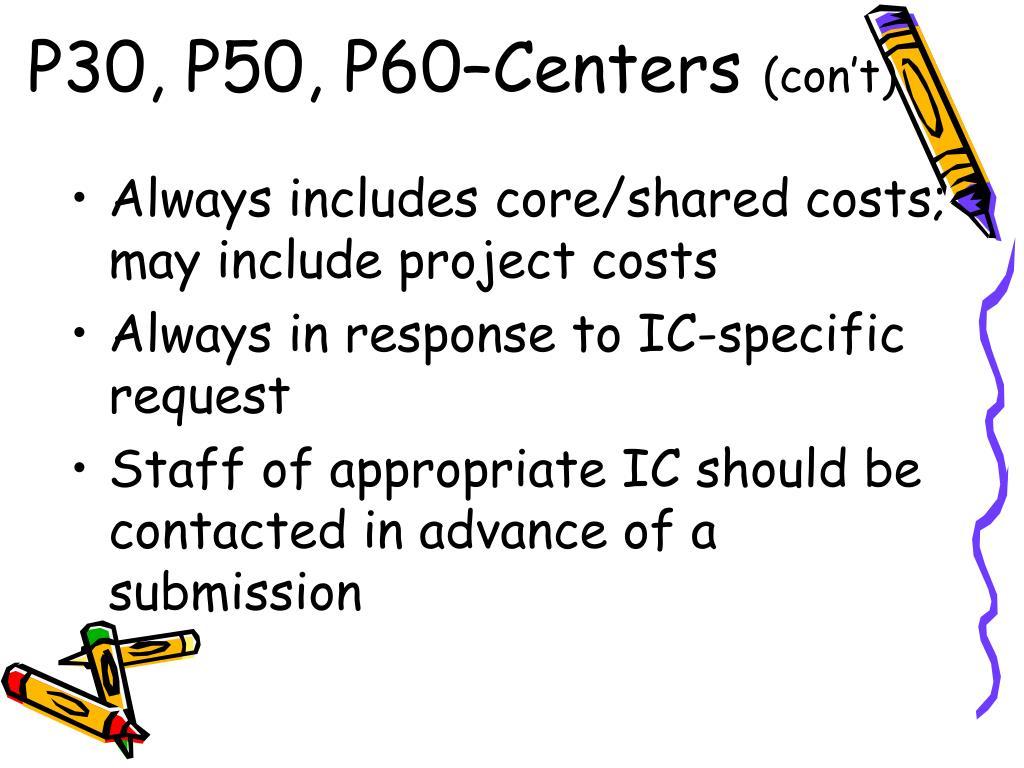 P30, P50, P60–Centers