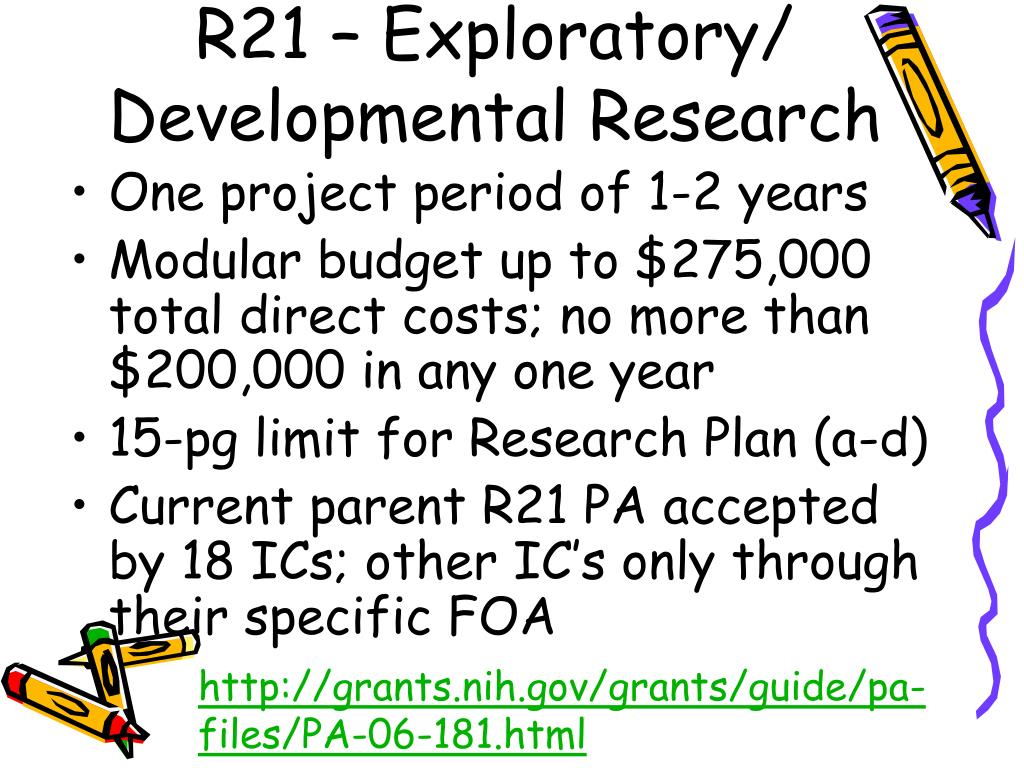 R21 – Exploratory/ Developmental Research