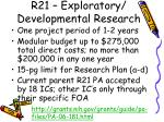 r21 exploratory developmental research