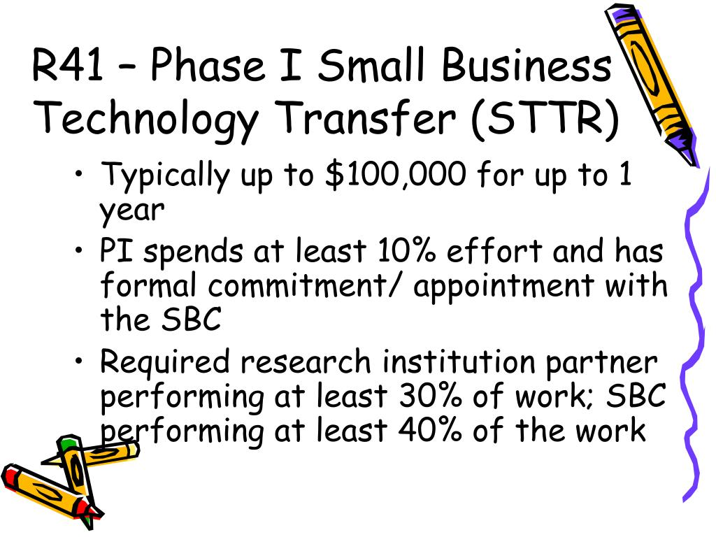 R41 – Phase I Small Business Technology Transfer (STTR)