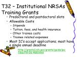 t32 institutional nrsas training grants