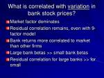 what is correlated with variation in bank stock prices