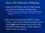 keys pre operative ordering