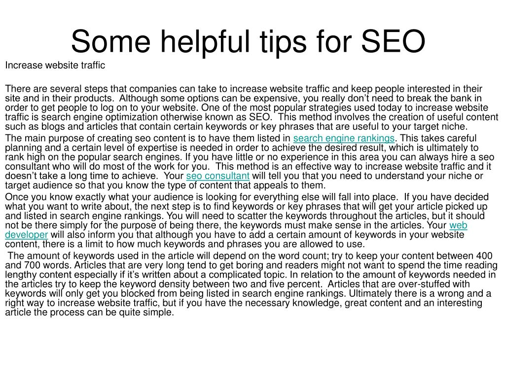 some helpful tips for seo l.
