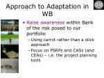 approach to adaptation in wb