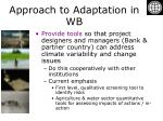 approach to adaptation in wb7