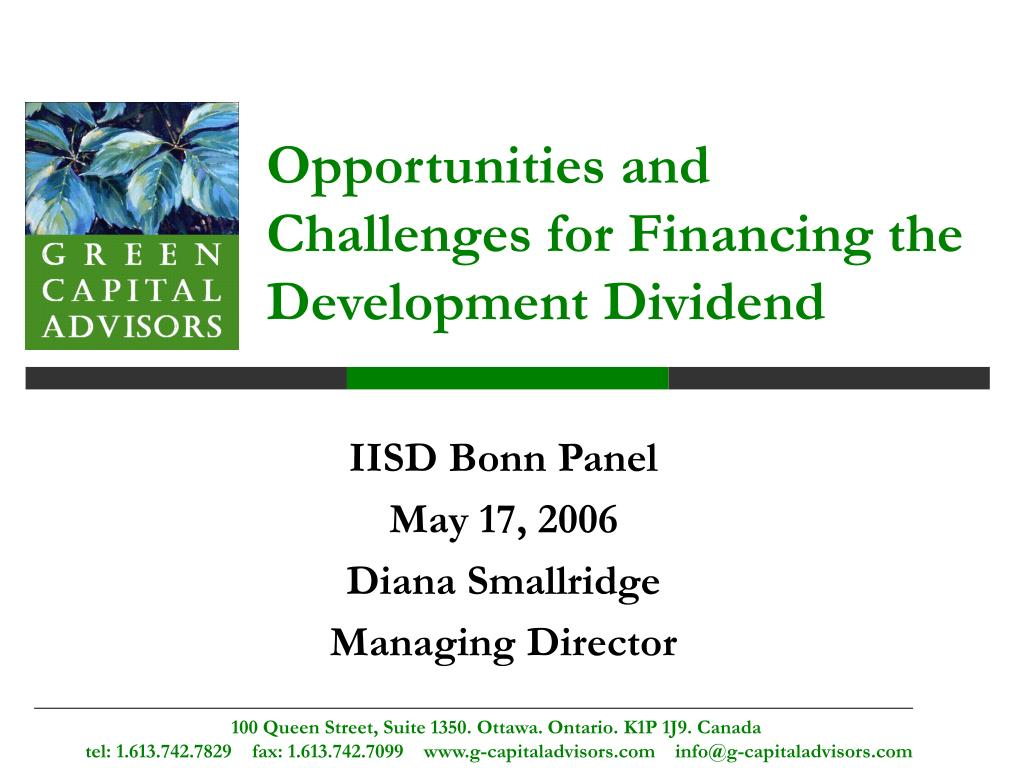 opportunities and challenges for financing the development dividend l.