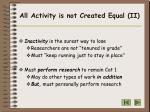 all activity is not created equal ii