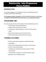 relationship sales programme course outline