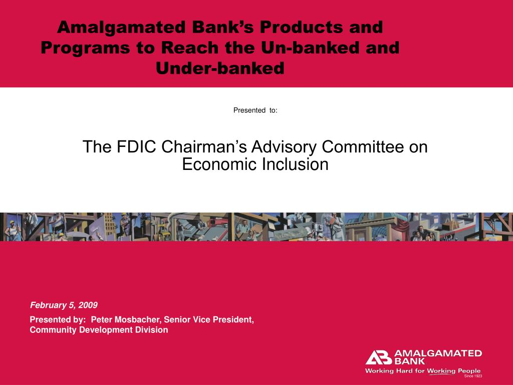 presented to the fdic chairman s advisory committee on economic inclusion l.