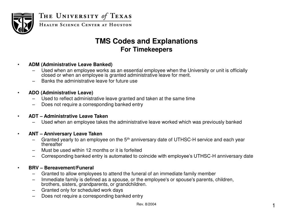 tms codes and explanations for timekeepers l.