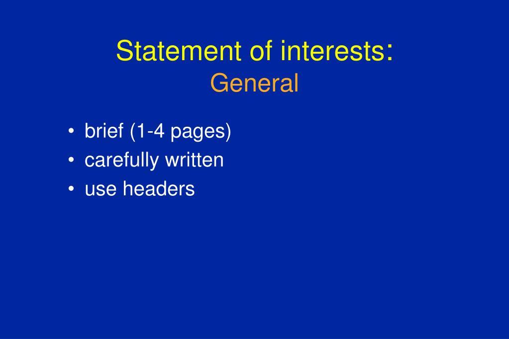 Statement of interests