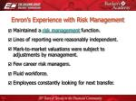 enron s experience with risk management