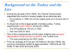 background on the turkey and the lira