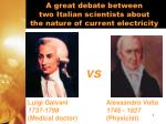 a great debate between two italian scientists about the nature of current electricity