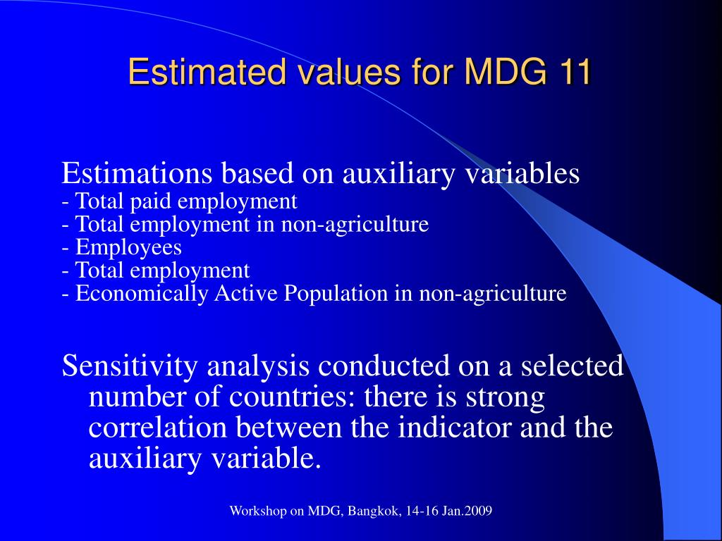 Estimated values for MDG 11