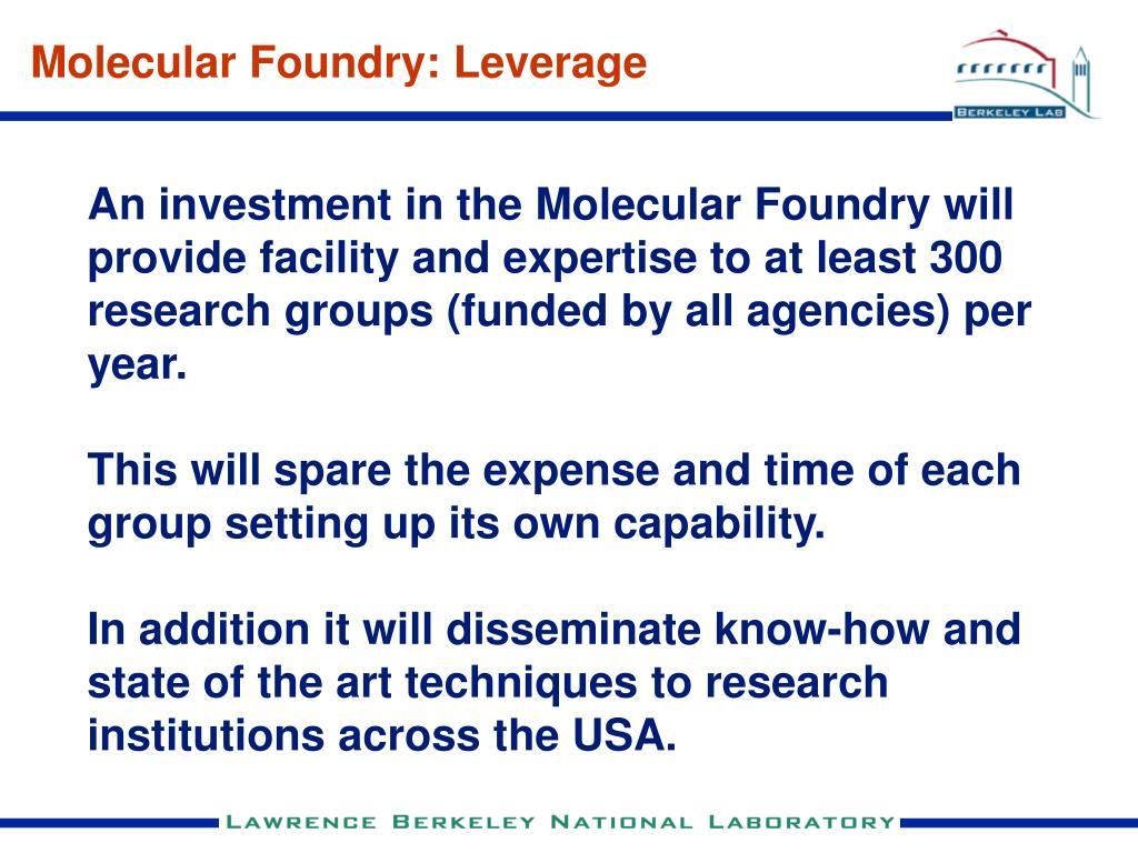 Molecular Foundry: Leverage