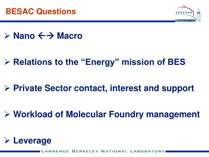 BESAC Questions