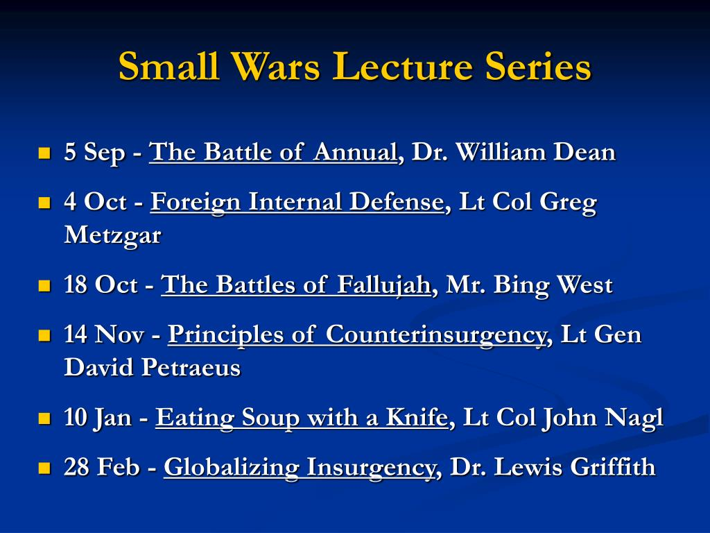 small wars lecture series l.