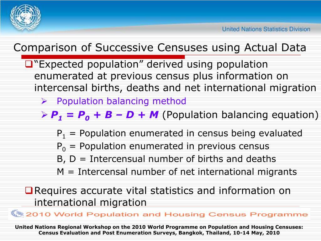 Comparison of Successive Censuses using Actual Data