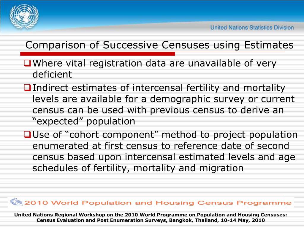 Comparison of Successive Censuses using Estimates