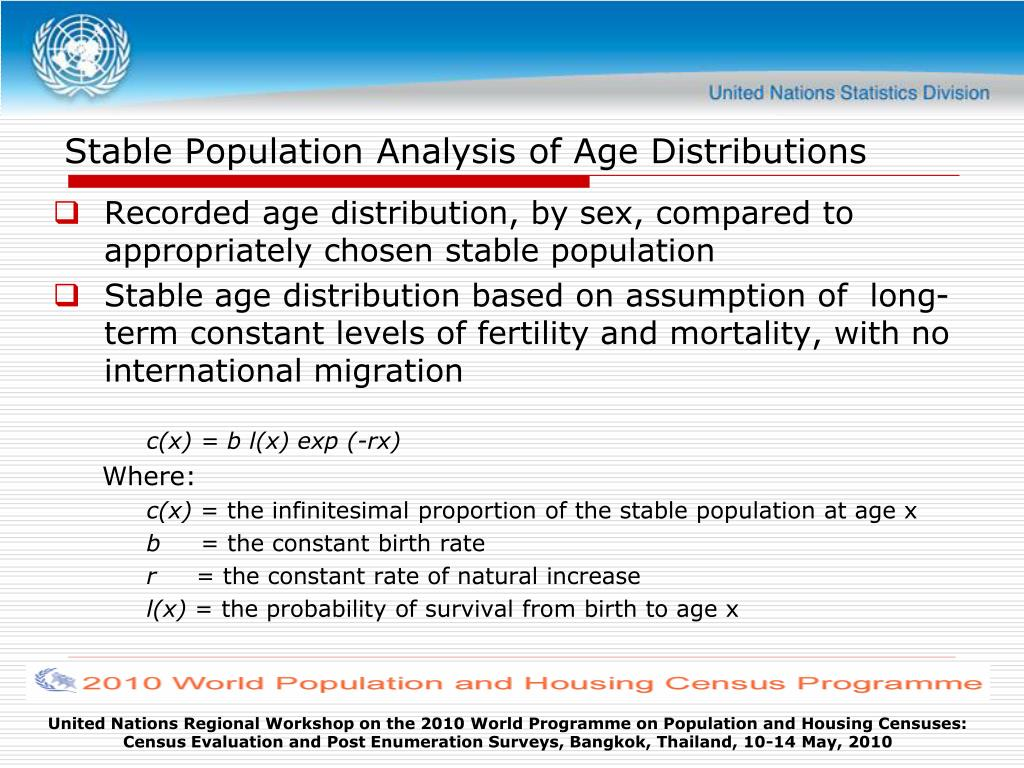 Stable Population Analysis of Age Distributions