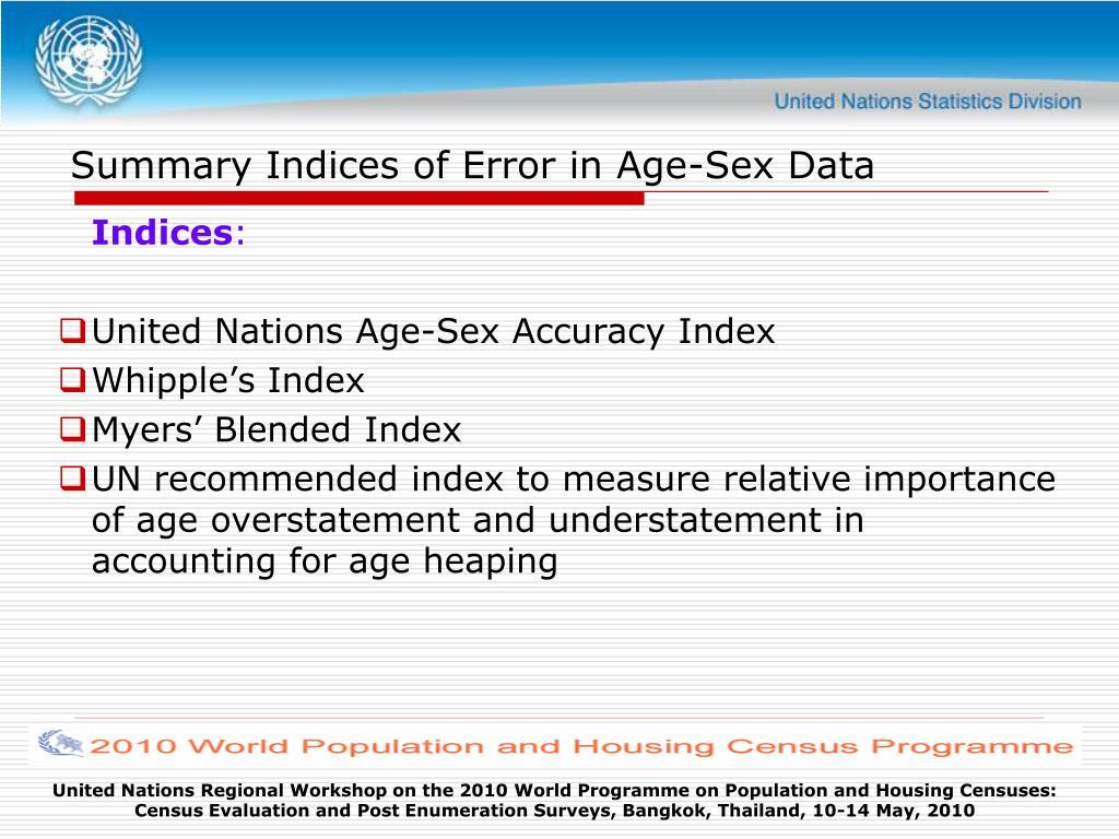 Summary Indices of Error in Age-Sex Data